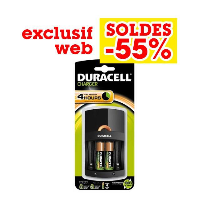 Chargeur de piles AAA et AA Duracell CEF 14 avec 2 piles AA