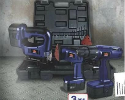 A partir du 01/02 : Lot de 3 outils électroportatifs : Perceuse visseuse +  Ponceuse + Scie pendulaire