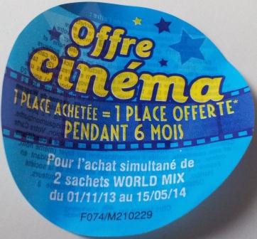 """Carte cinéma """"2 pour 1"""" Gaumont Pathé offerte pour l'achat de 2 sachets Haribo"""