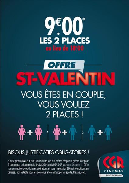 La Saint-Valentin au Méga CGR : 1 place achetée = 1 place gratuite