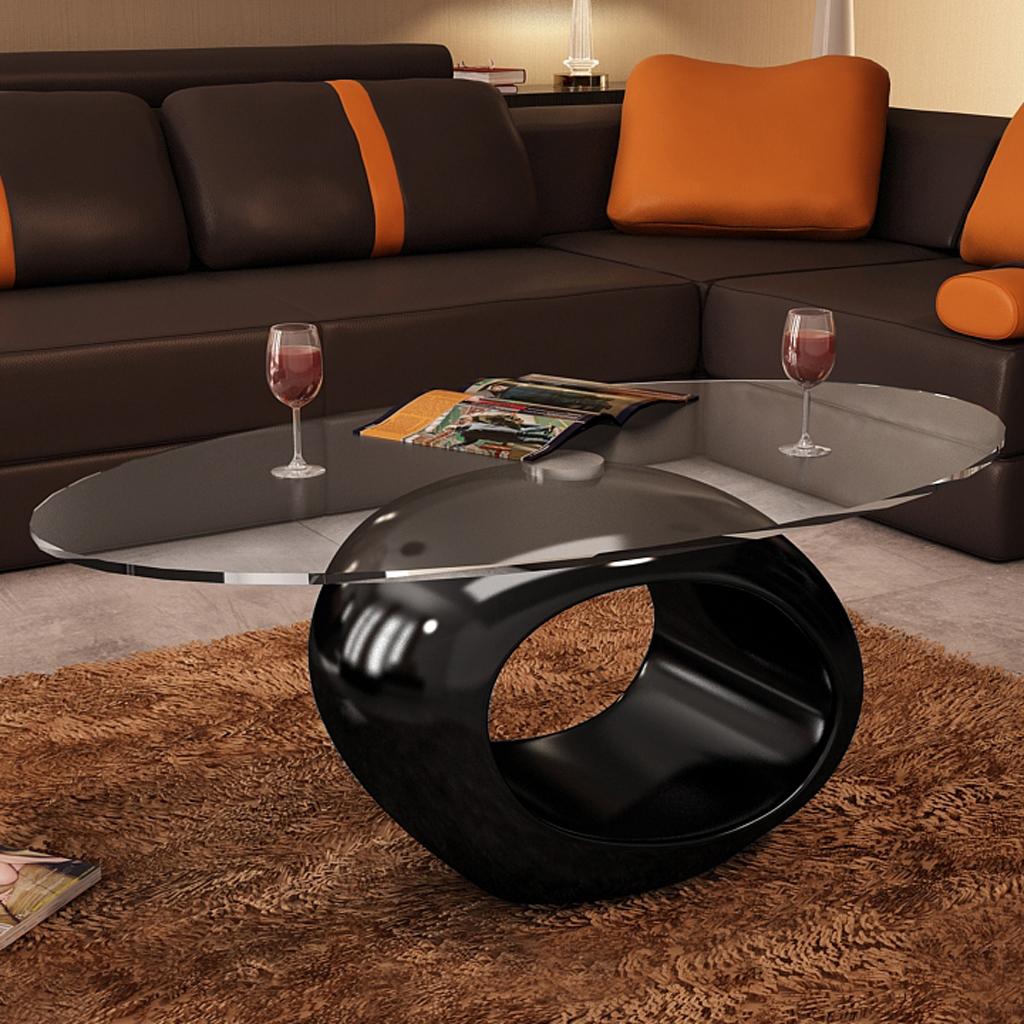 Table basse design en verre - Pied noir laqué