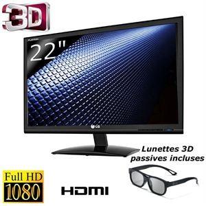 """Ecran PC 21.5"""" LED LG D2242P-PN 3D Full-HD (livré avec 2 paires de lunettes passives)"""