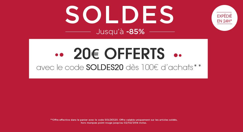 20€ de réduction dès 100€ d'achat sur les articles en solde