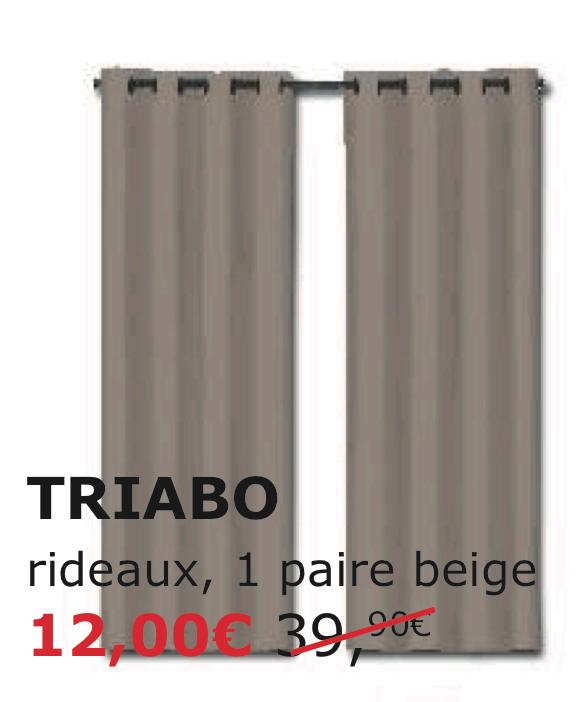 Paire de rideau épais 100 % coton (TRIABO)