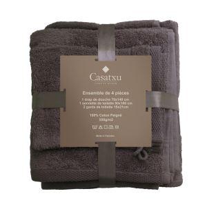 Set 4 Pièces serviettes et gants de toilette Casatxu Grey Flanelle