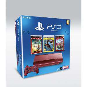 Console Sony PS3 500 Rouge + 3 Jeux Essentials
