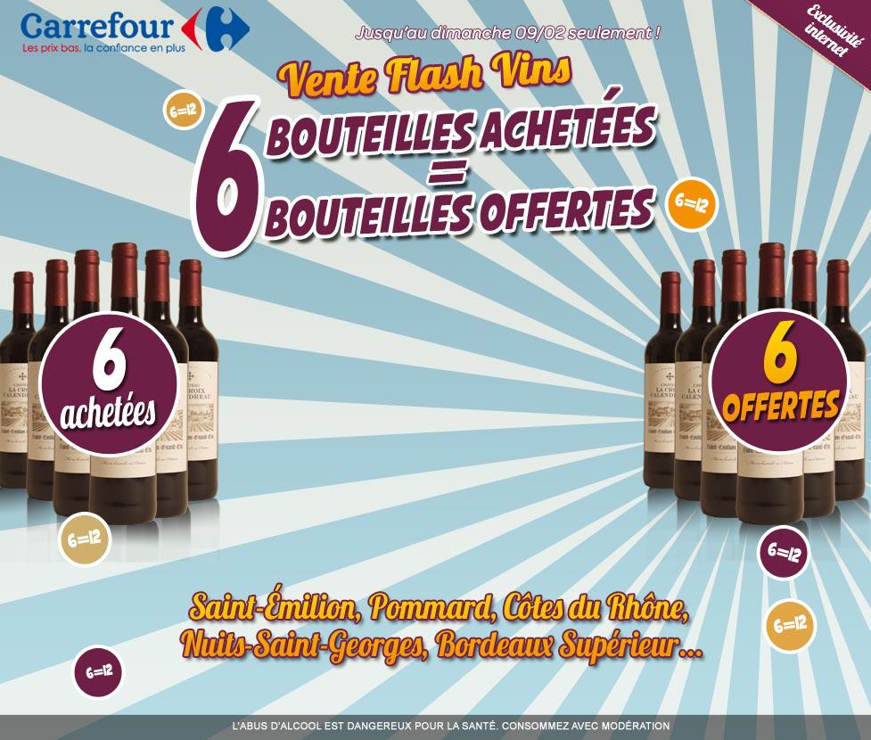 6 bouteilles offertes pour 6 achetées sur une sélection de vins