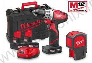 Pack Perceuse/Visseuse Milwaukee C12DD32C + Fil à plomb laser C12BL20