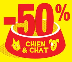 Un produit alimentaire pour chien ou chat acheté = le deuxième identique à -50%