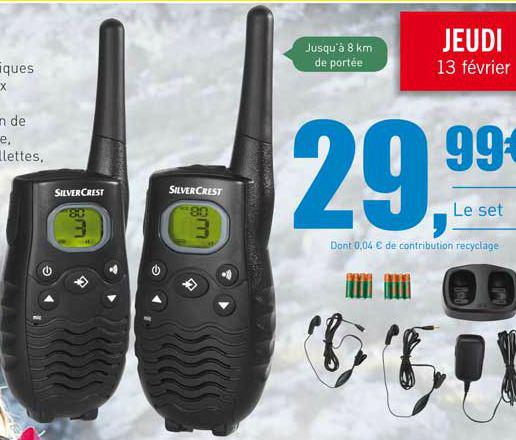 Paire de Talkie-walkie PMR 446 (avec station de charge, oreillettes et accus)
