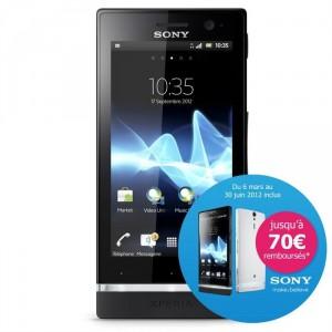Smartphone Sony Xperia U avec ODR (30€ ou 50€)