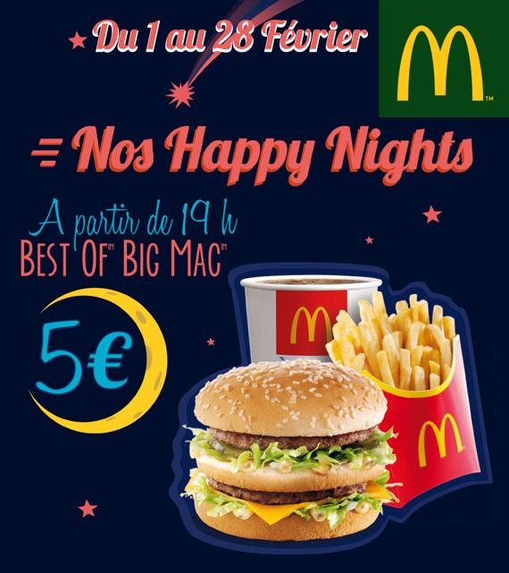 Tous les soirs à partir de 19h : Menu Best of Big Mac