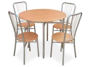 Table ronde + 4 chaises Moulin (coloris hêtre)