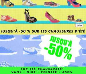 Jusqu'à -50% de réduction sur les chaussures de marque homme, et les chaussures d'été femme