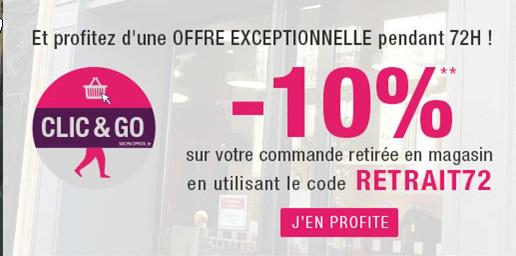 -10% sur votre commandede courses  retirée en magasin, en Drive ou Clic & Go