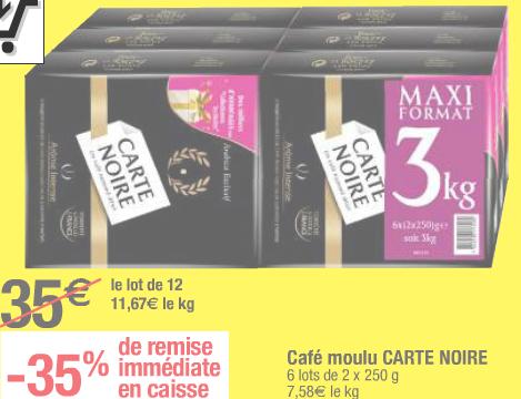 Opération gros volumes sur une sélection d'articles  - Ex : Lot de 12x Café Moulu Carte Noire