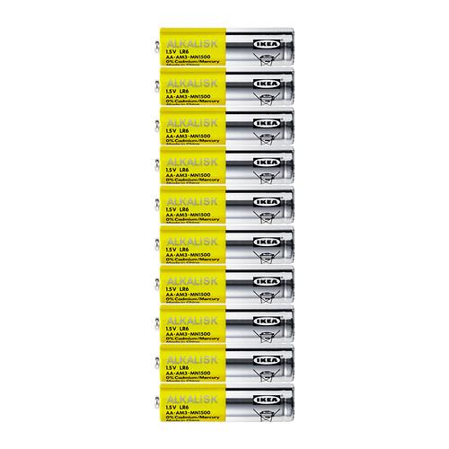 10 piles AA/LR06 Alkalisk (qualité = >Duracell/Philips)