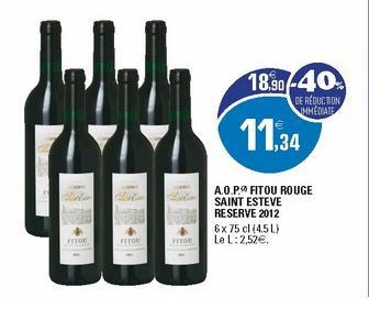 Lot de 6 bouteilles de vin rouge Fitou Rouge Saint esteve reserve 2012