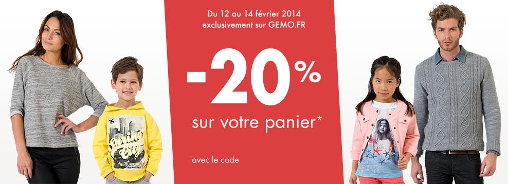 -20%  sur tout votre panier (hors articles en promotion)