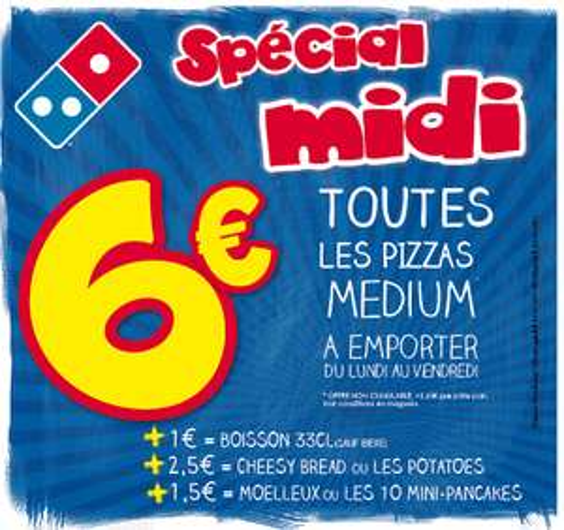 Toutes les pizzas Medium le midi