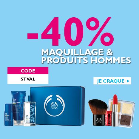 -40 % sur les articles maquillage et produits hommes