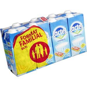 Pack de lait 8x1L Lactel UHT demi écrémé