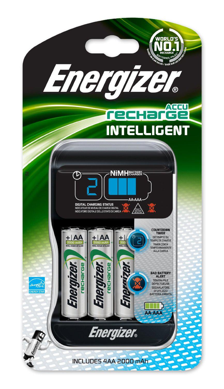 Chargeur intelligent Energizer avec 4 piles AA NiMH rechargeables