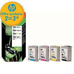 3 packs de cartouches jet d'encre HP achetés, le 3éme remboursé - Ex: 3 x 4 cartouches jet d'encre HP C2N93AE N°940XL