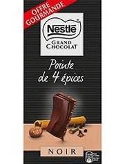 Chocolat nestlé pointe de 4 épices