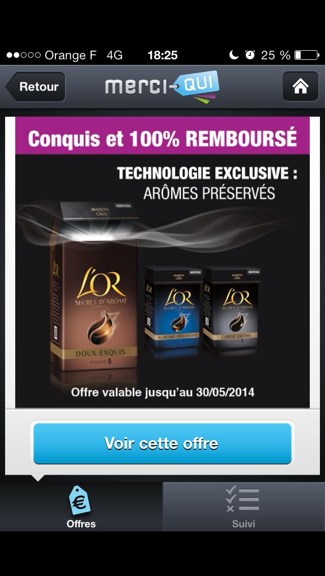 L'or Café Secret d'Arome 100% remboursé (Via application merci qui)