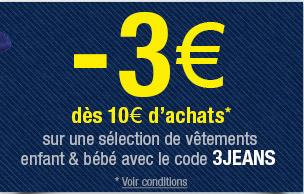 3€ de réduction pour 10€ d'achat sur une sélection de vêtements enfant et bébé