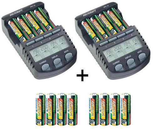 Lot de 2 Chargeurs intelligent Voltcraft ipc-1l + 16 accus rechargeables AA / livraison chronopost 24h offerte/