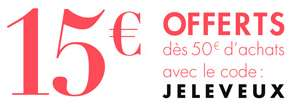 15€ de réduction dès 50€ d'achats sur la nouvelle collection (vêtements, chaussures...)