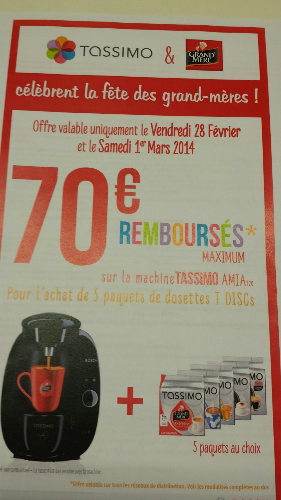 Machine à café Tassimo AMIA T20 + 5 paquets de T-disc (avec ODR 70€) 100% remboursée