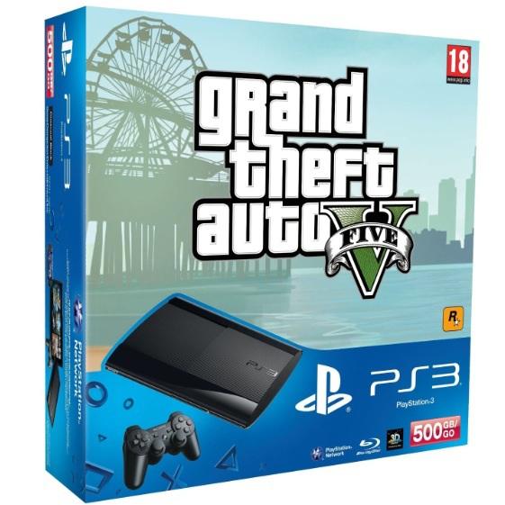 Pack Console PS3 500 Go noire + Grand theft auto V (- 100€ cagnotte)