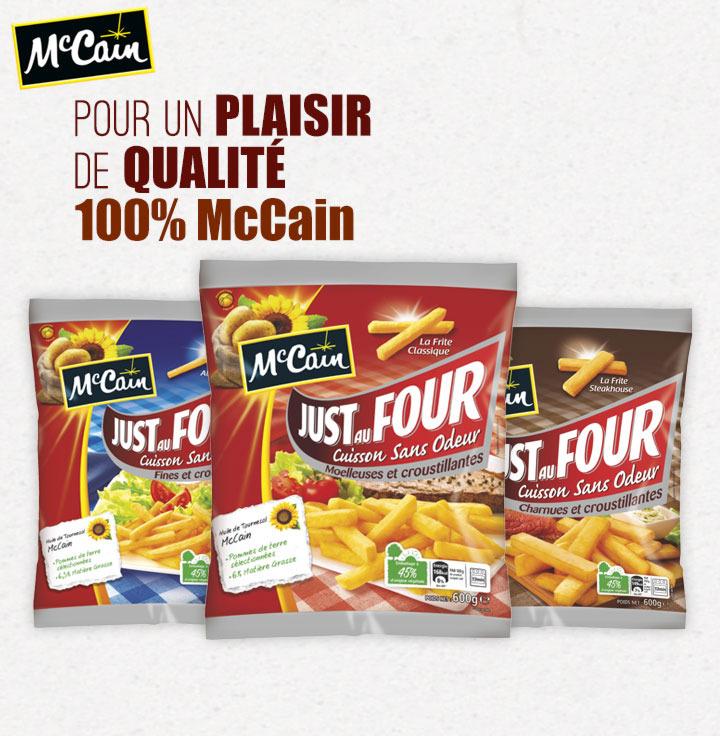 1€ de réduction pour tout d'achat d'un produit Just Au Four de McCain (4 au choix)