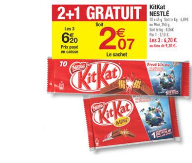 3x paquets de 10 Kit Kat