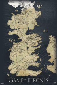 """Poster Carte """"Le Trône De Fer""""  Les Sept Royaumes De Westeros (91 x 61 cm) (3.99€ de port)"""