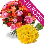 Fete des grand mères : 10 roses et 30 jonquilles offerte avec chaque bouquet de roses, via Buyster