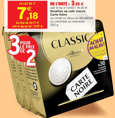 3 paquets de dosettes café Carte Noire