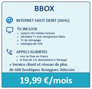 Forfait Triple Play BBOX (Internet Haut Débit ADSL, TV et Appels illimités) sans engagement / Par mois