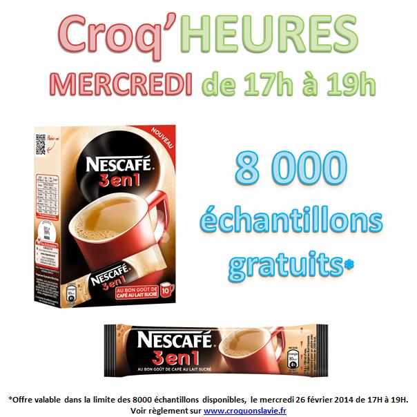 A partir de 17h : Echantillon Nescafe 3 en 1 gratuit