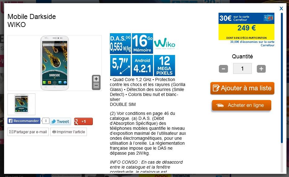 Smartphone Wiko Darkside (30€ sur la carte fidélité)