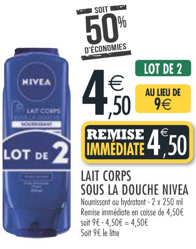 Lot de 2 laits de corps sous la douche Nivea 250 ml
