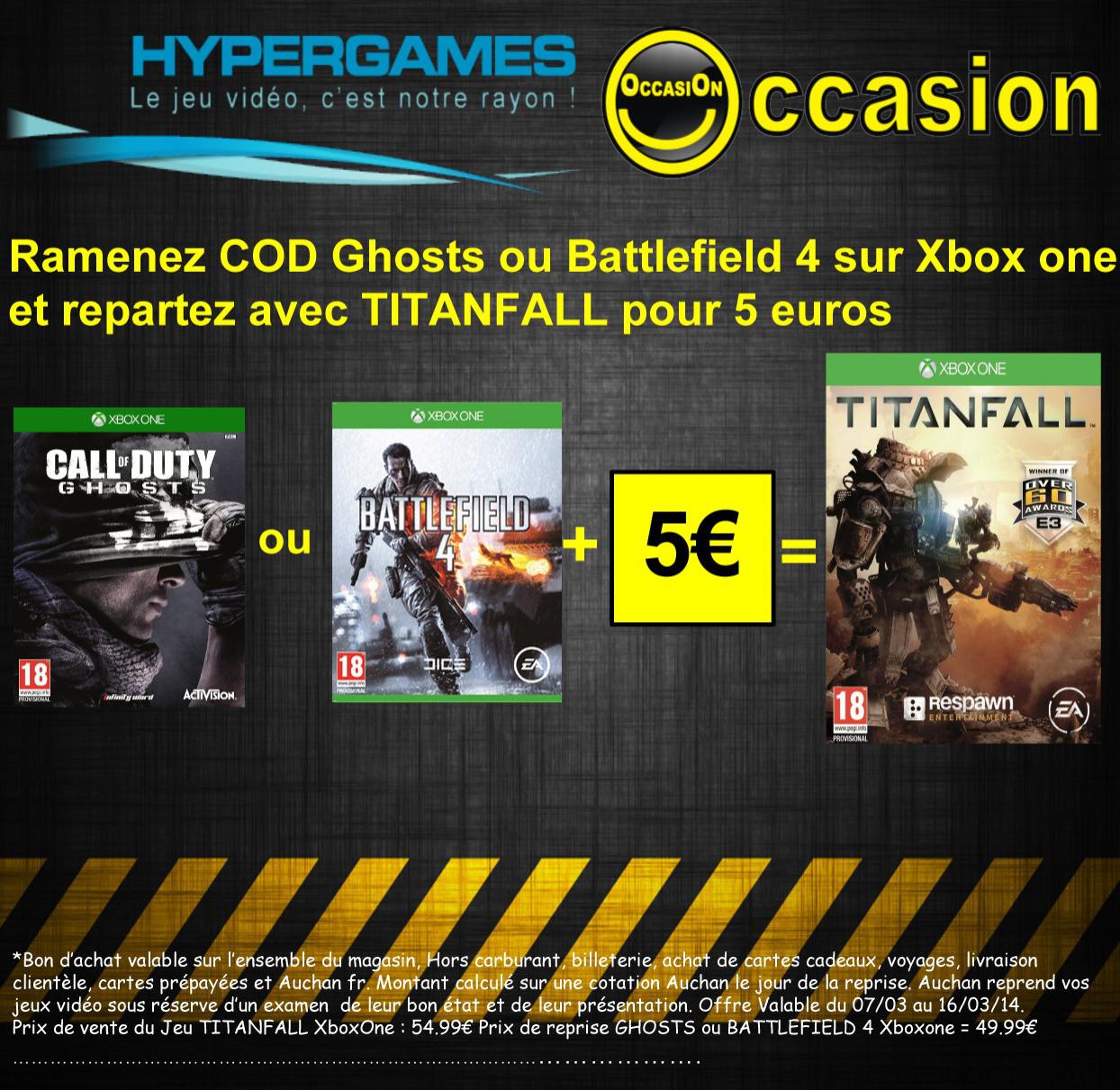 Echangez Call Of Duty Ghosts OU Battlefield 4 sur Xbox One contre Titanfall pour 5€