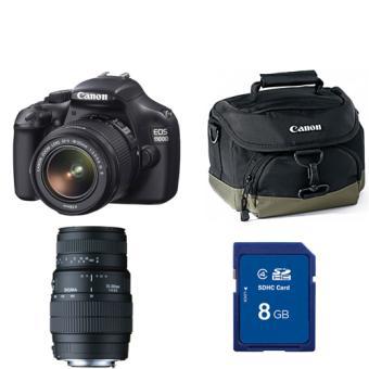 Reflex Canon EOS 1100D Noir + Objectif Canon EF-S IS stabilisé 18-55 mm +  Sigma DG 70-300 mm + Fourre-tout Canon 100EG + Carte mémoire SDHC 8Go