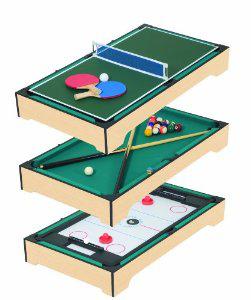 Table de jeu portable Pot Black pour enfant 3 en 1 (ping pong, billard, hockey) / port inclus