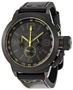 Montre Acier & Cuir TW Steel Cool Black Chrono TW900 - 45 mm