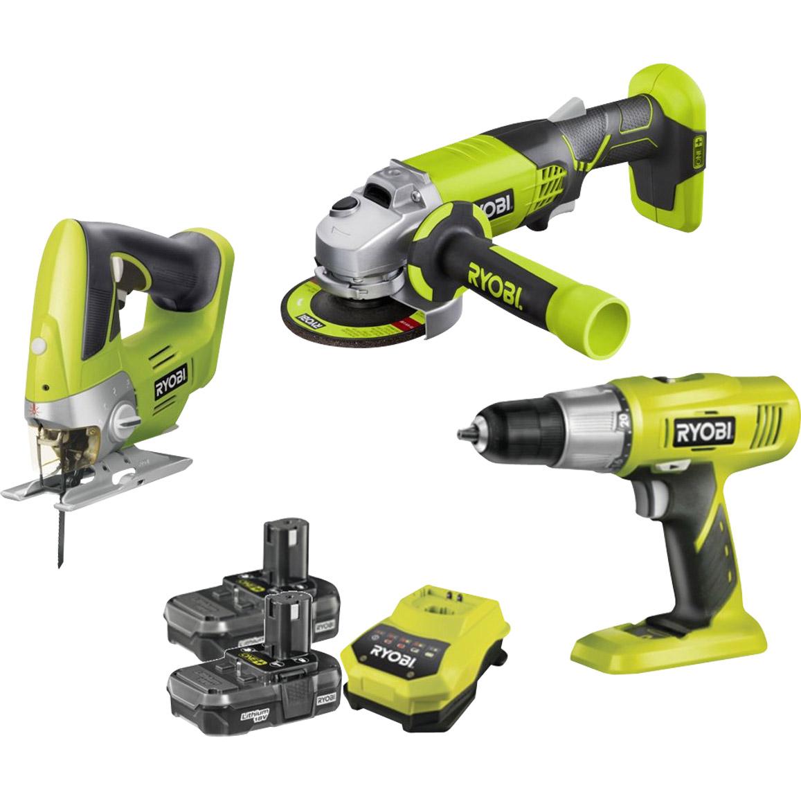 Kit 3 outils perceuse/meuleuse/scie sauteuse Ryobi One + 2 batteries lithium 18V