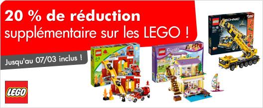 20 % de réduction supplémentaire sur les Lego +15€ pour 69€ d'achat